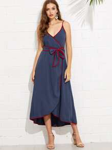 Contrast Binding Wrap Cami Dress with Belt