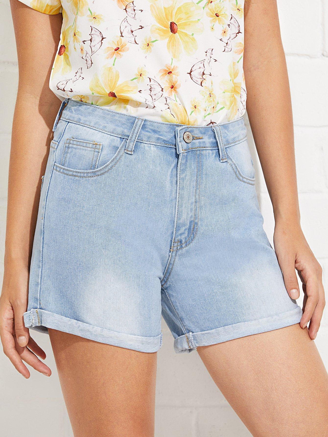 Bleach Wash Cuffed Denim Shorts stylish women s lace embellised bleach wash denim shorts