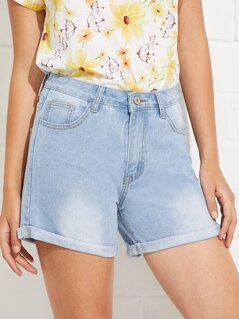 Bleach Wash Cuffed Denim Shorts