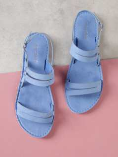 Faux Suede Asymmetrical Sling Back Flat Sandal