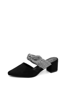 Gingham Bow Tie Heeled Mules