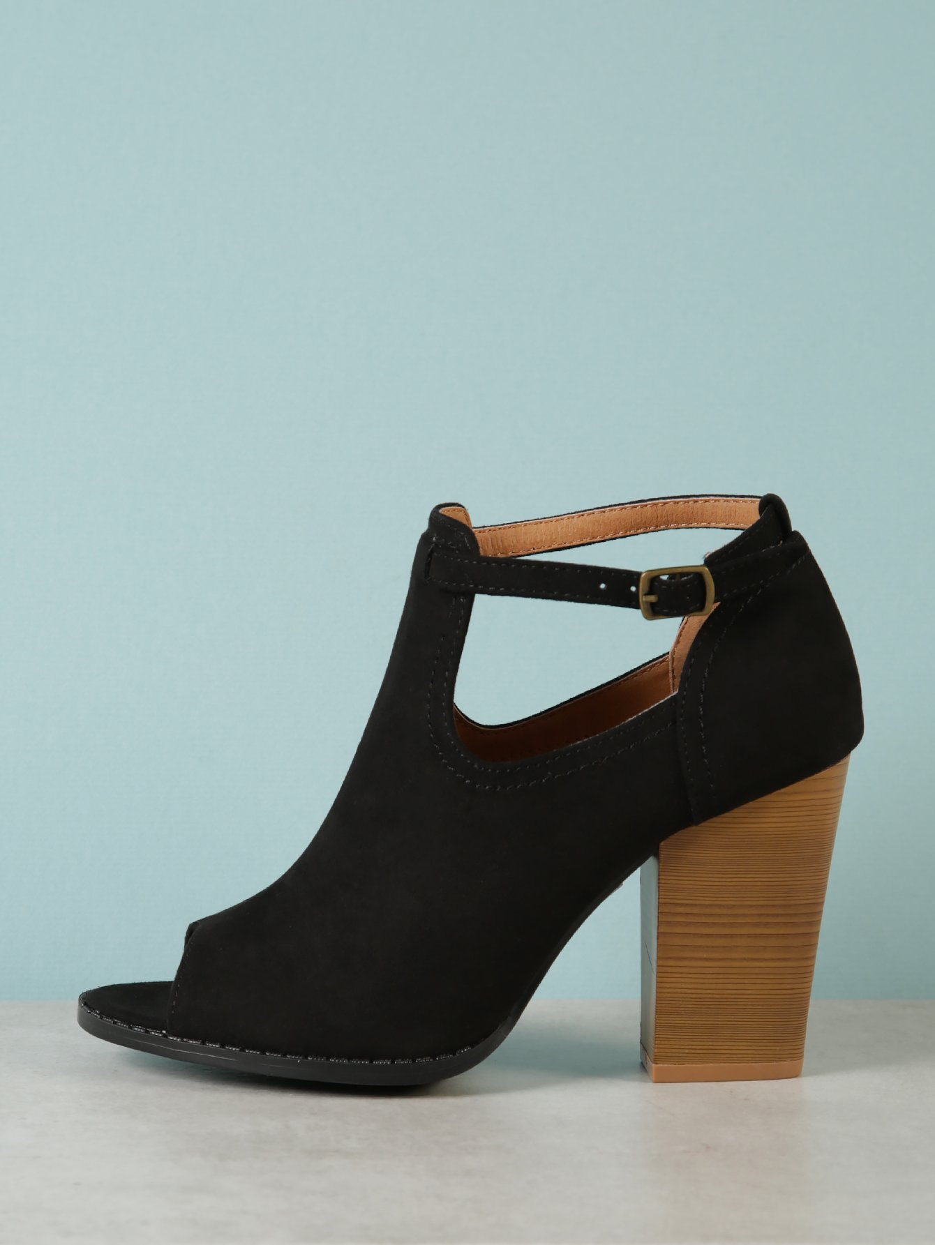 d26a9011e9bf Faux Suede Chunky Heel Peep Toe Bootie