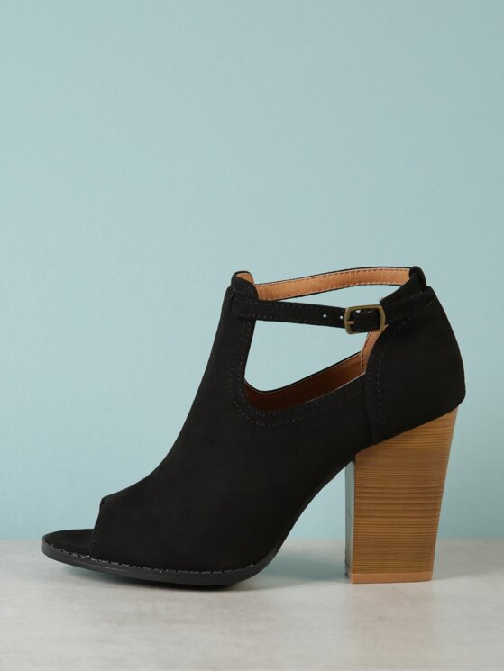 d95ad6904ff62 Faux Suede Chunky Heel Peep Toe Bootie