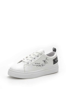 Slogan Band Lace Up Sneakers