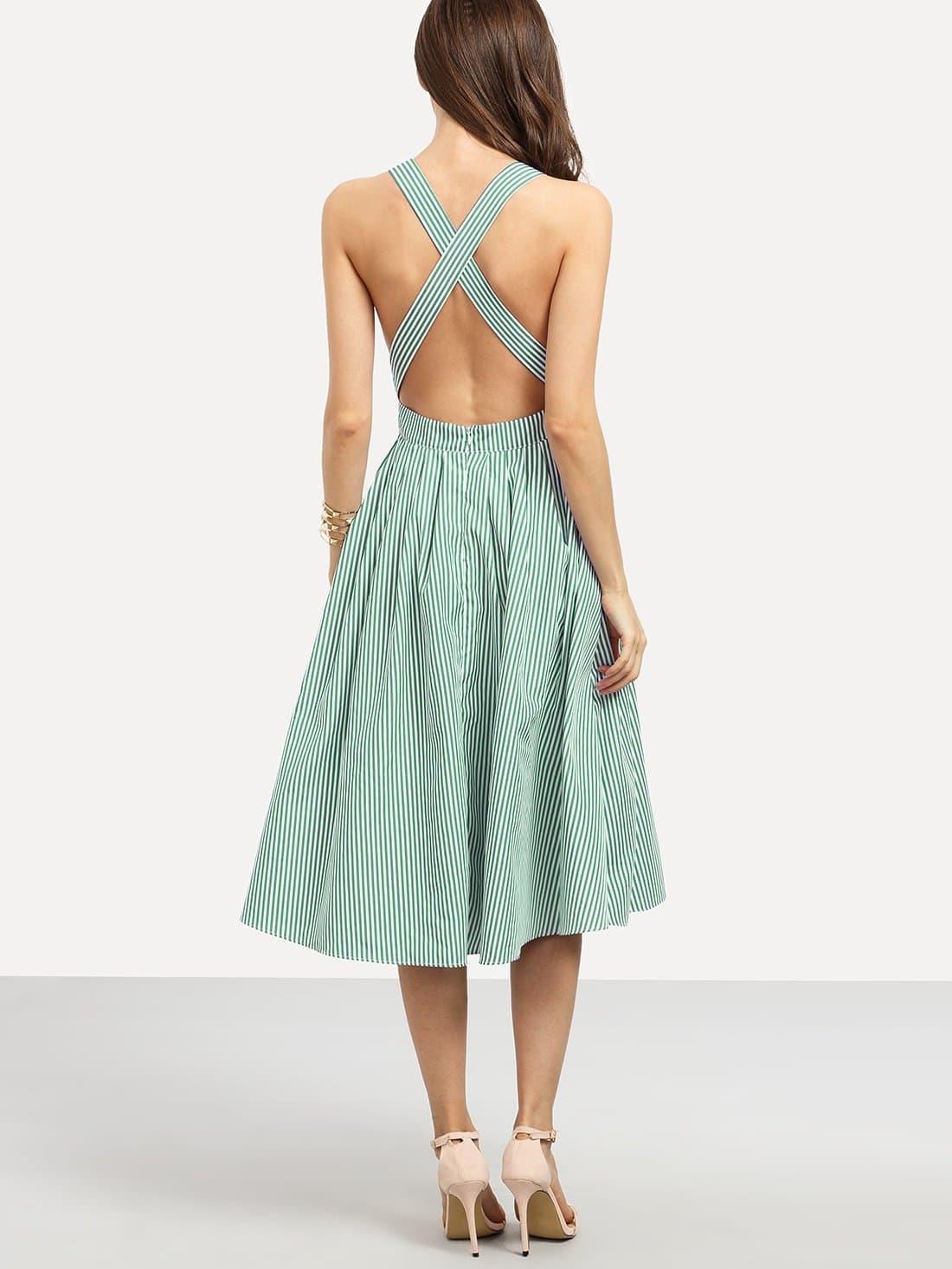 Criss Cross Open Back Stripe Dress criss cross open back ruffle dress
