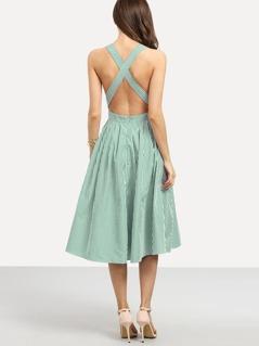 Criss Cross Open Back Stripe Dress