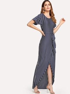 Self Belted Pinstripe Overlap Dress