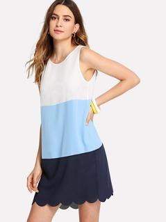 Cut And Sew Scalloped Shell Dress