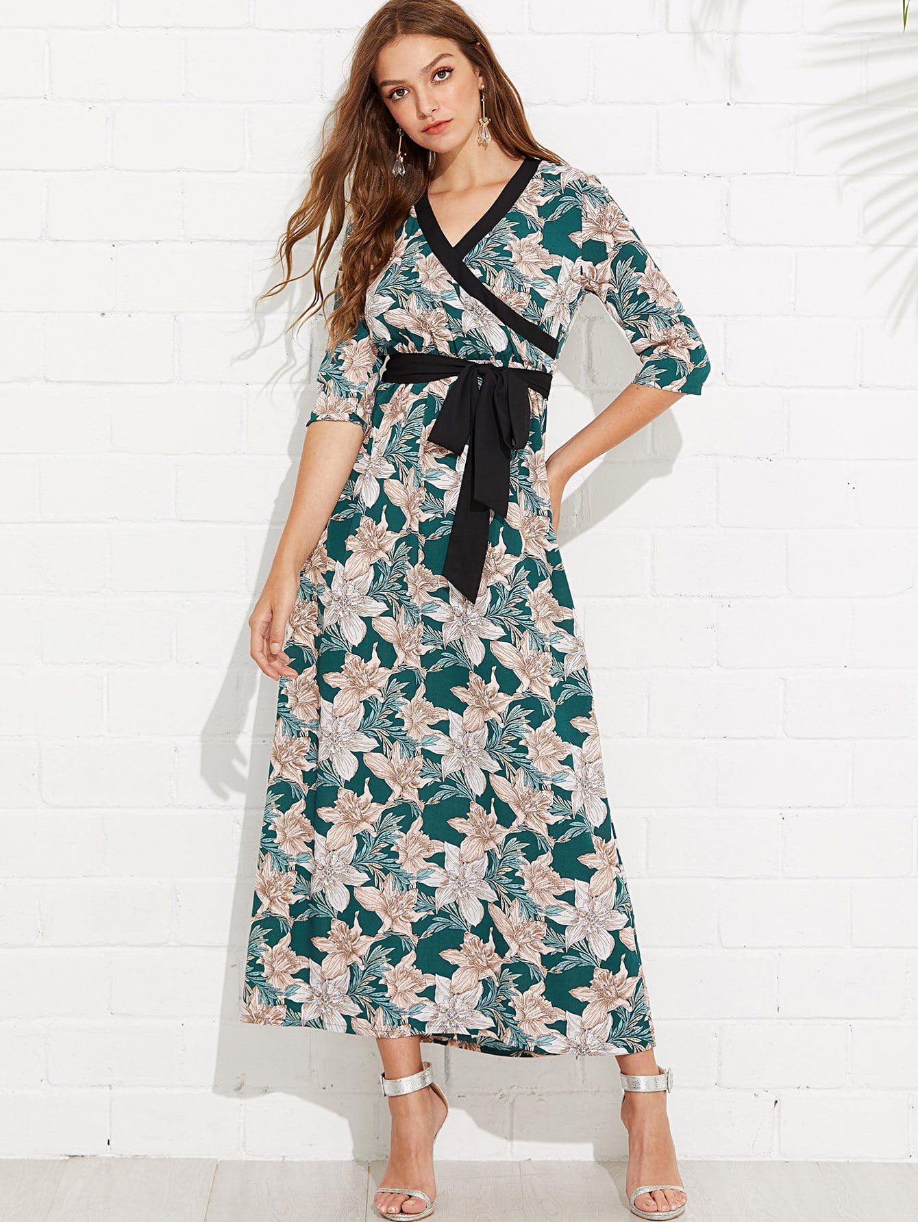 Contrast Binding Flower Print Wrap Dress contrast binding wrap dress