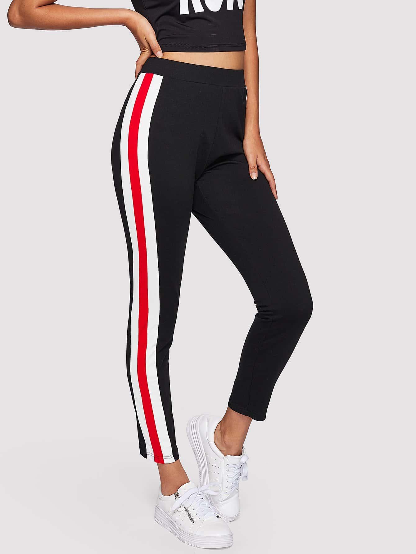 Color Block Side Skinny Leggings high waist color block skinny sports leggings