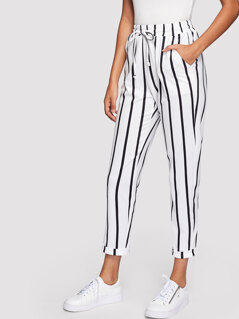 Drawstring Waist Striped Tapered Pants