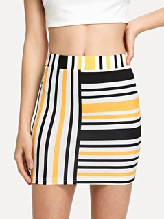 Mixed Striped Bodycon Skirt