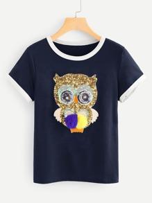 Sequin Owl Ringer T-shirt