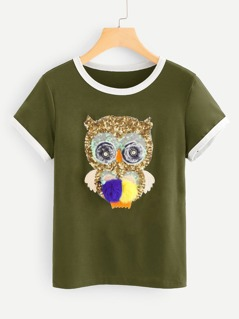 Sequin Owl Ringer T-shirt