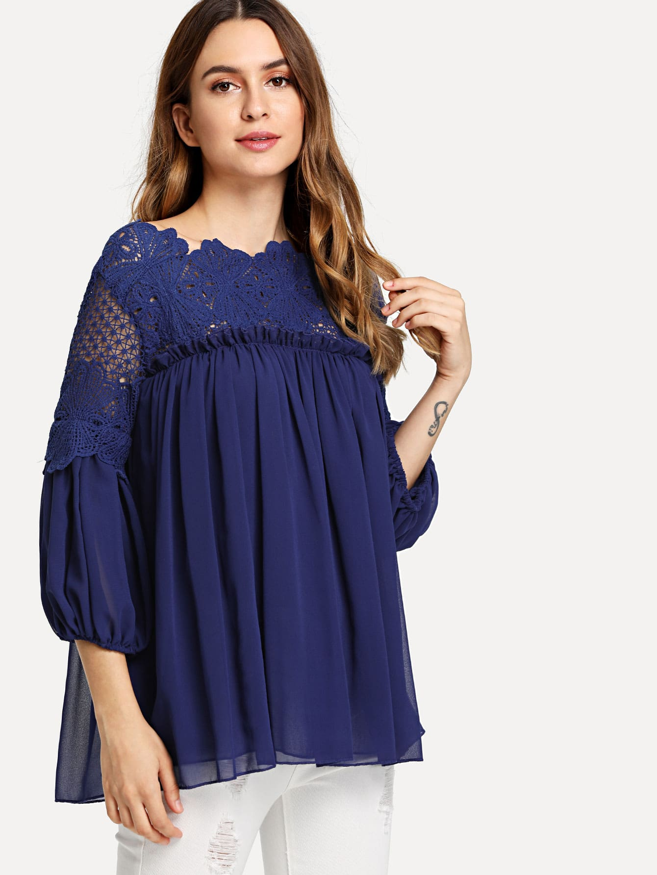 Guipure Lace Yoke Semi Sheer Smock Top lace panel yoke top