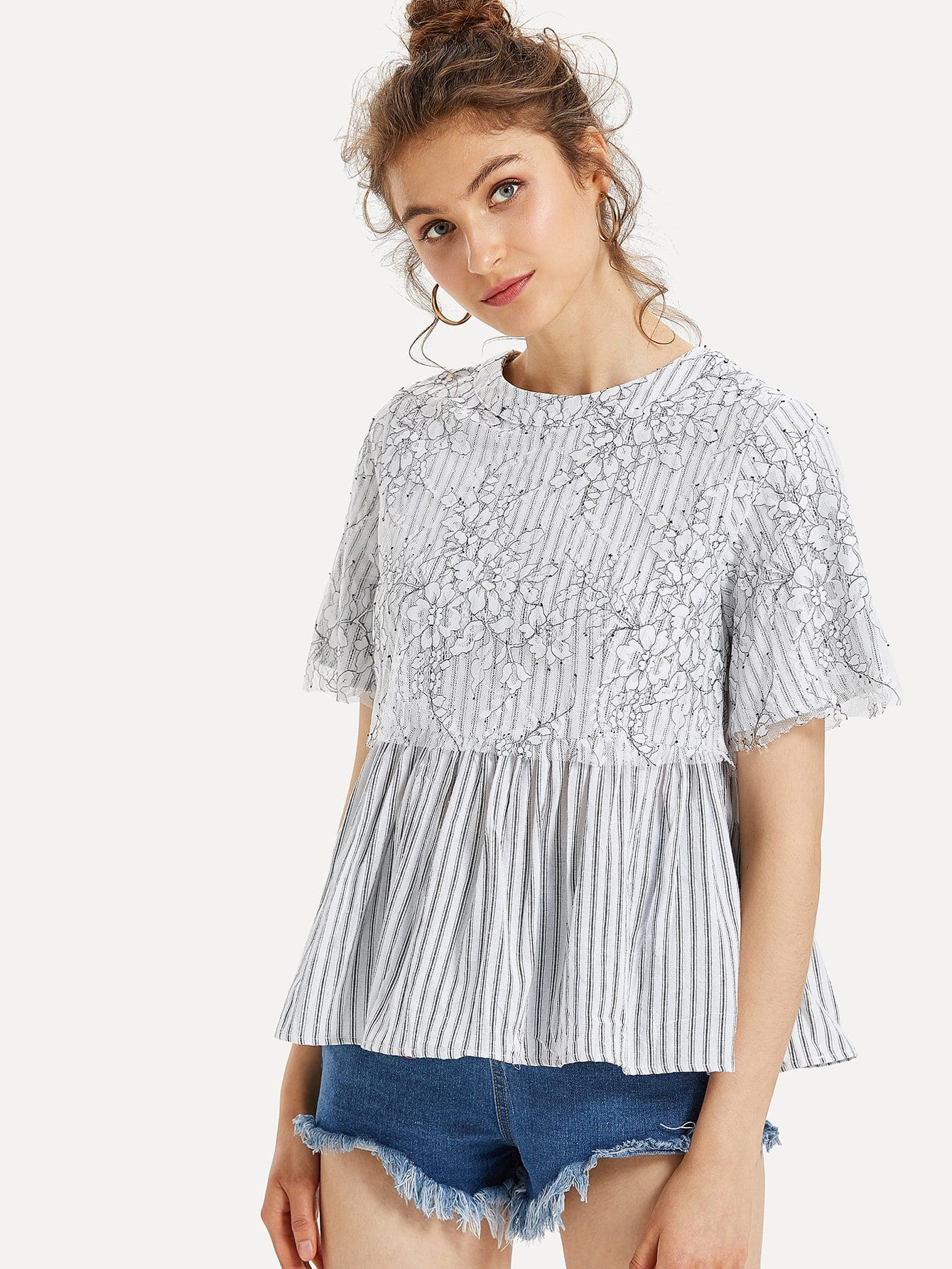 Floral Lace Applique Striped Smock Top рубашка huf floral s s woven salmon floral
