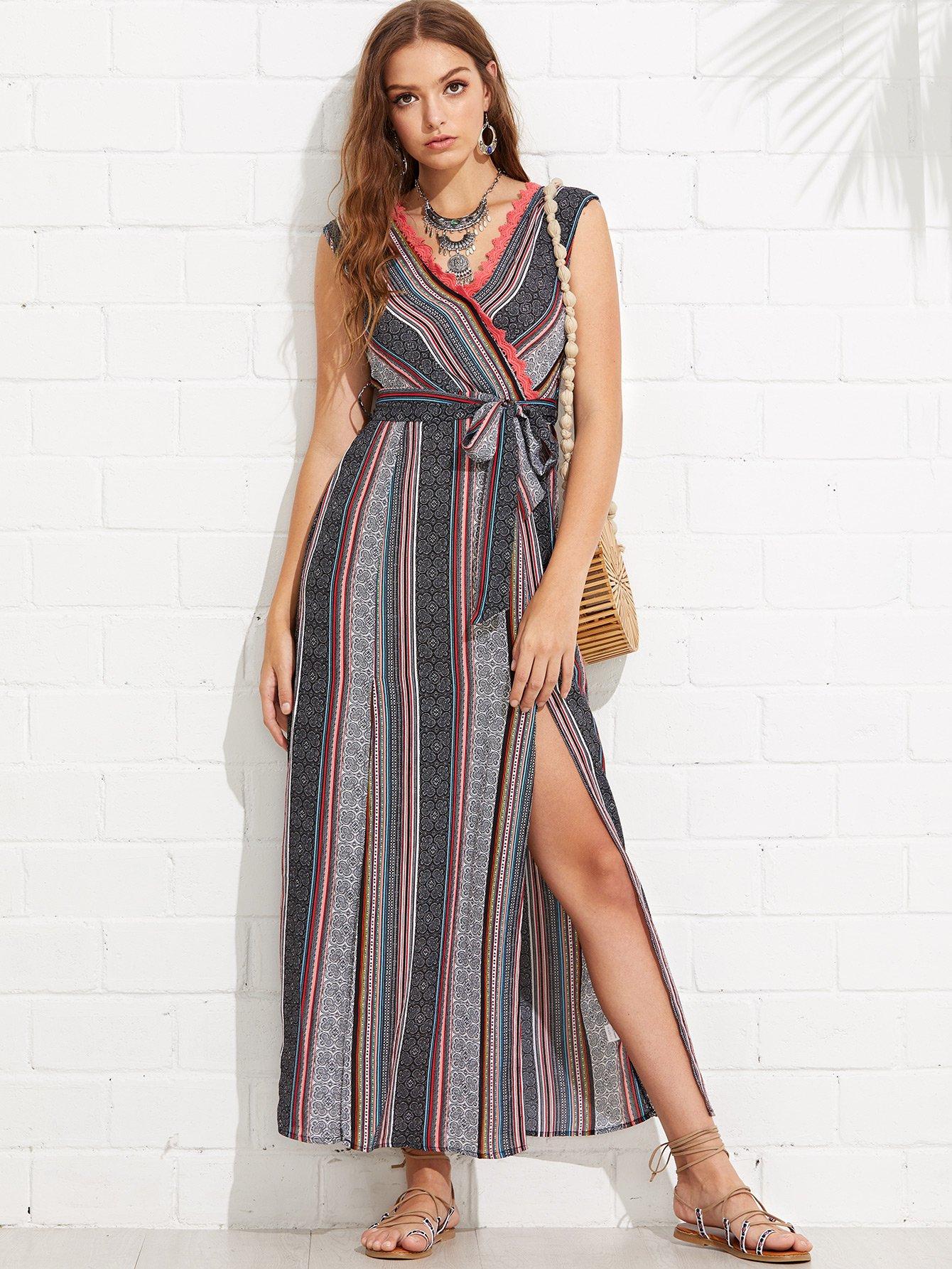 Tribal Print Tied V Back M-Slit Wrap Dress simple pure color back slit tied dress for women