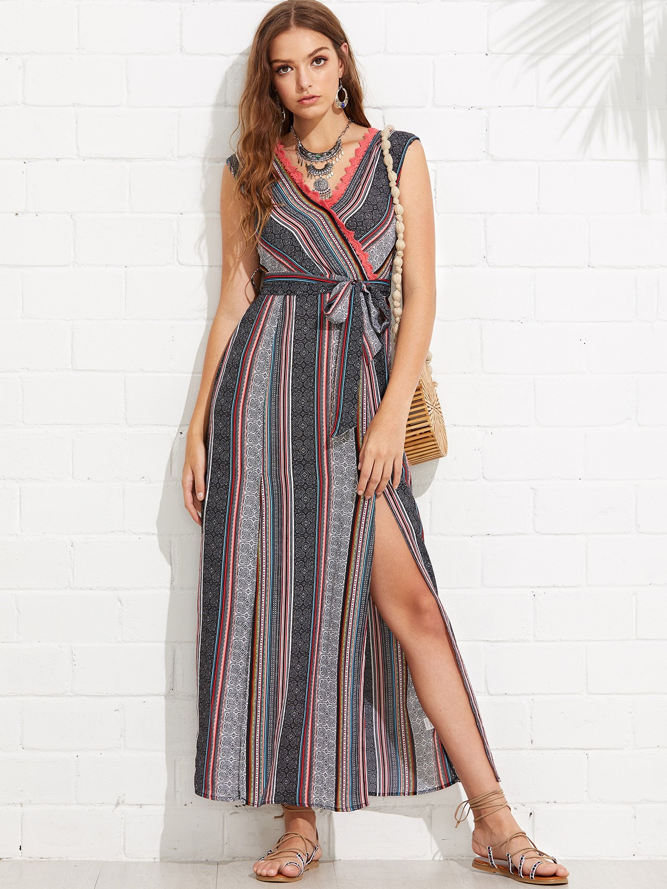 Tribal Print Tied V Back M-Slit Wrap Dress tribal print u back bodycon dress