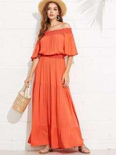 Bell Sleeve Shirred Waist Tired Off Shoulder Dress
