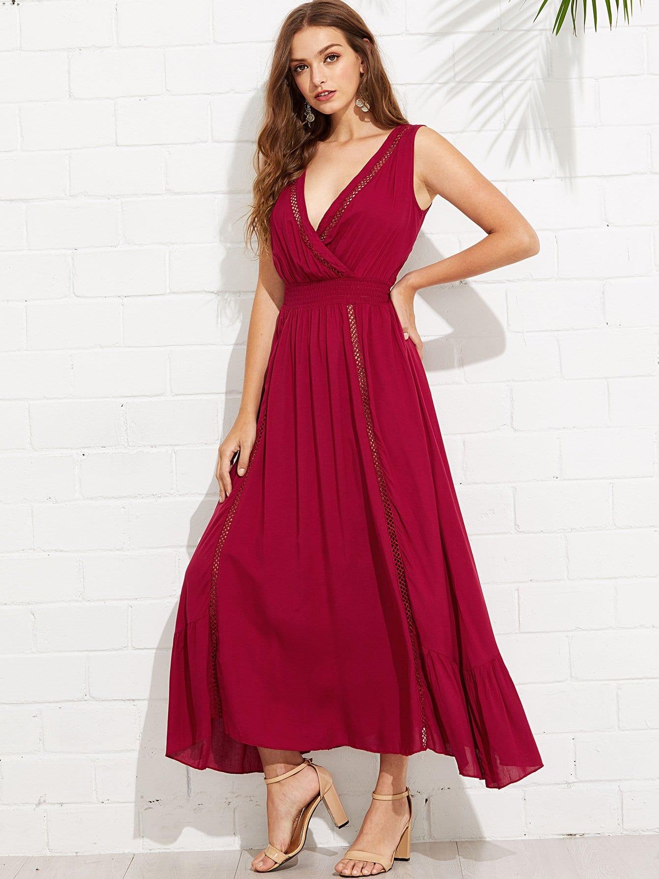 Wrap Front Tied V-Back Ruffle Hem Dress tied back ruffle hem tropical cami dress