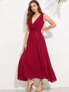 Wrap Front Tied V-Back Ruffle Hem Dress