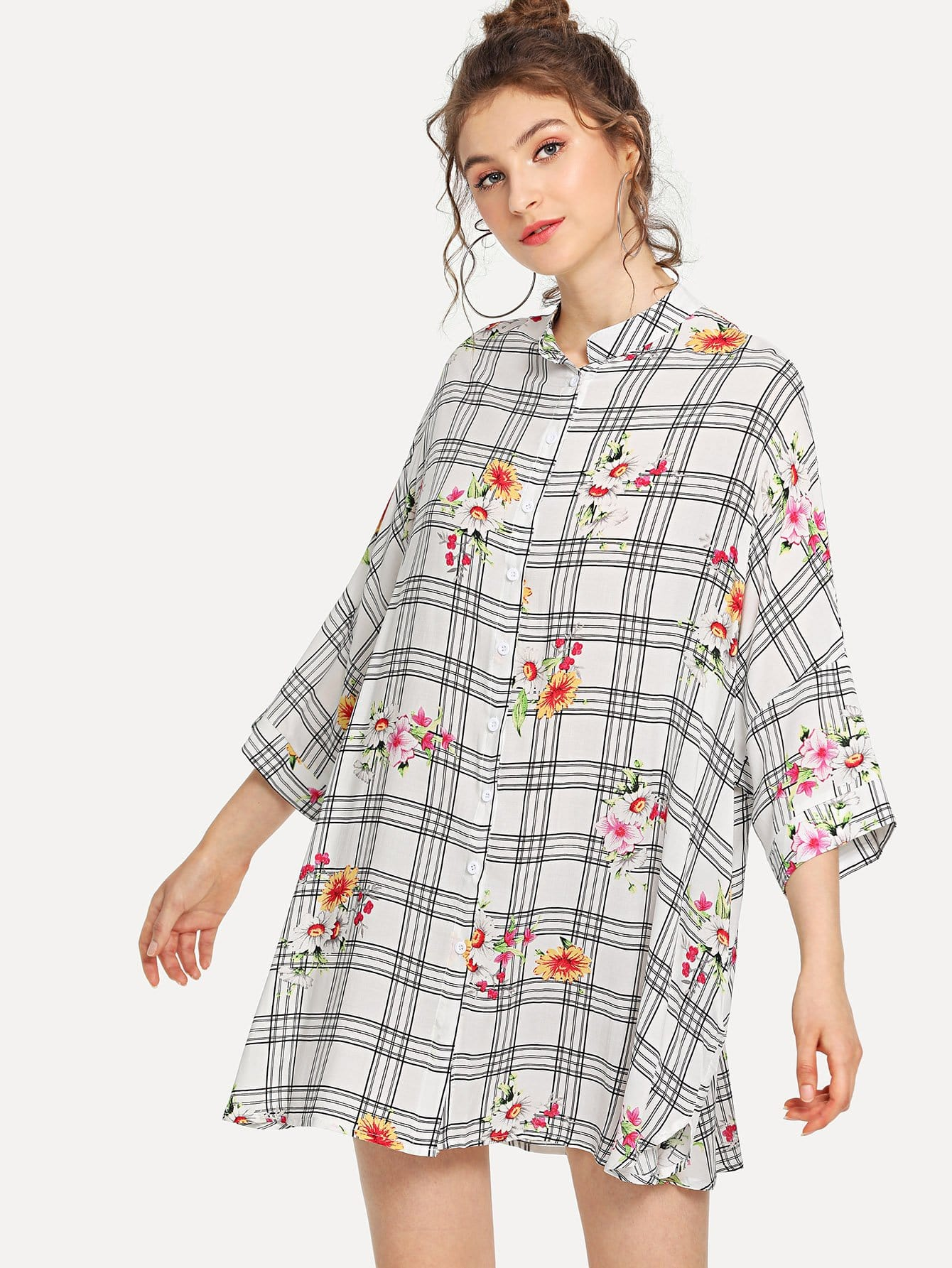 Band Collar Plaid & Floral Shirt Dress рубашка huf floral s s woven salmon floral