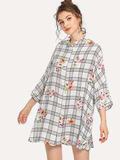 Band Collar Plaid & Floral Shirt Dress