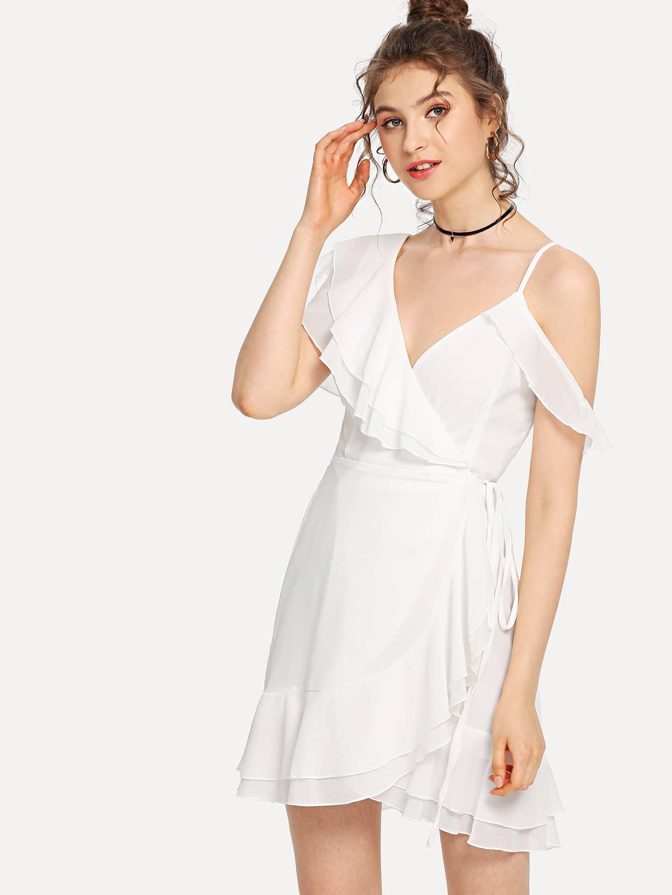 Layered Flounce Trim Tie Waist Surplice Wrap Dress layered ruffle trim satin wrap dress