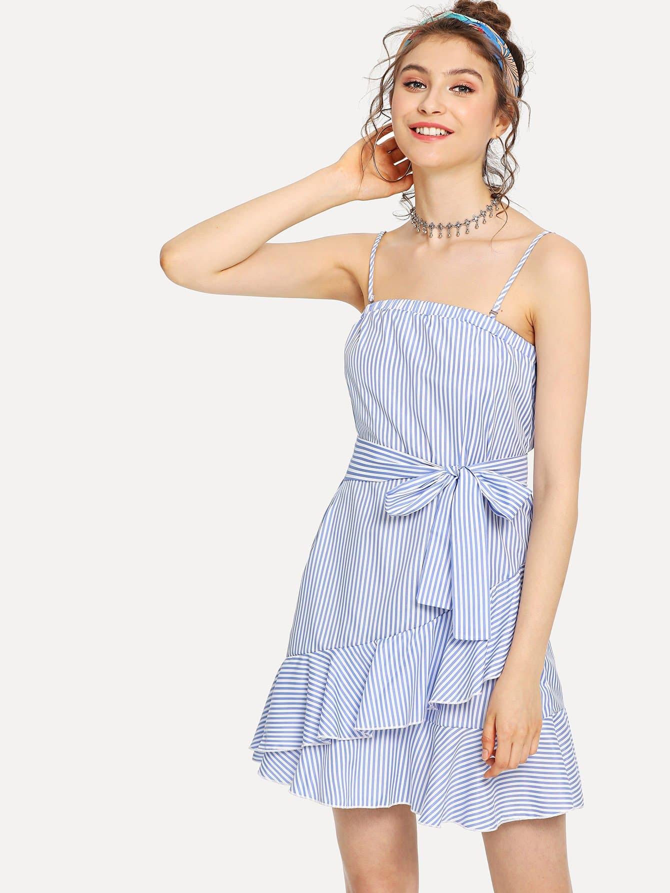 Flounce Hem Belted Pinstripe Cami Dress flounce hem belted pinstripe cami dress