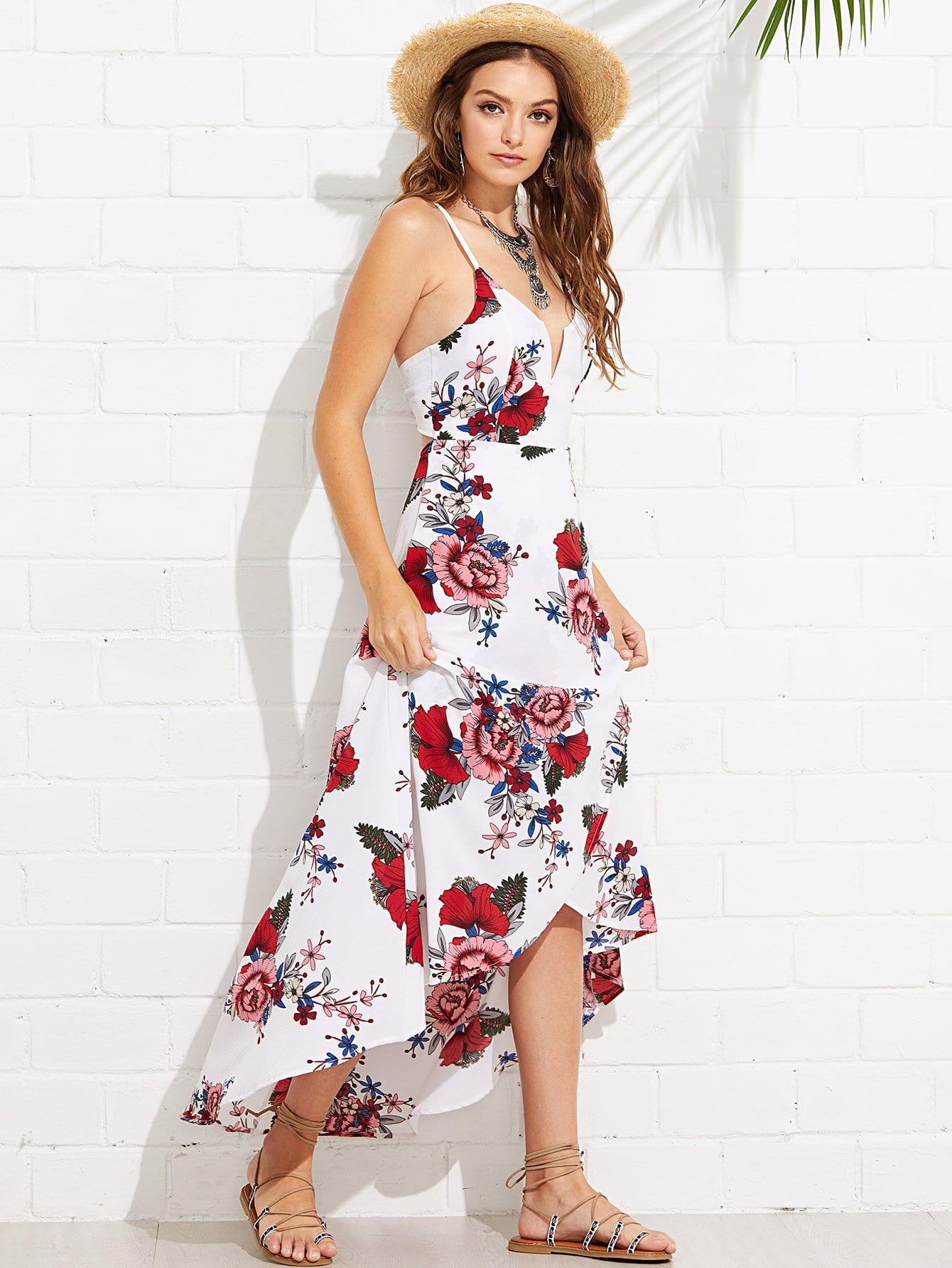 Купить Погружающаяся шея Крисскросс Шея Асимметричное цветочное платье Ками, Luiza, SheIn
