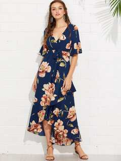 Flounce Sleeve Floral Print Wrap Dress