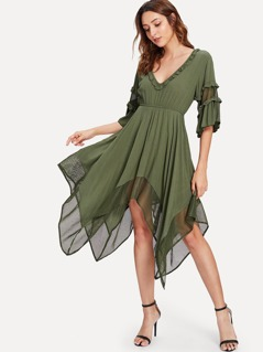 Frill Trim Flounce Sleeve Asymmetrical Dress