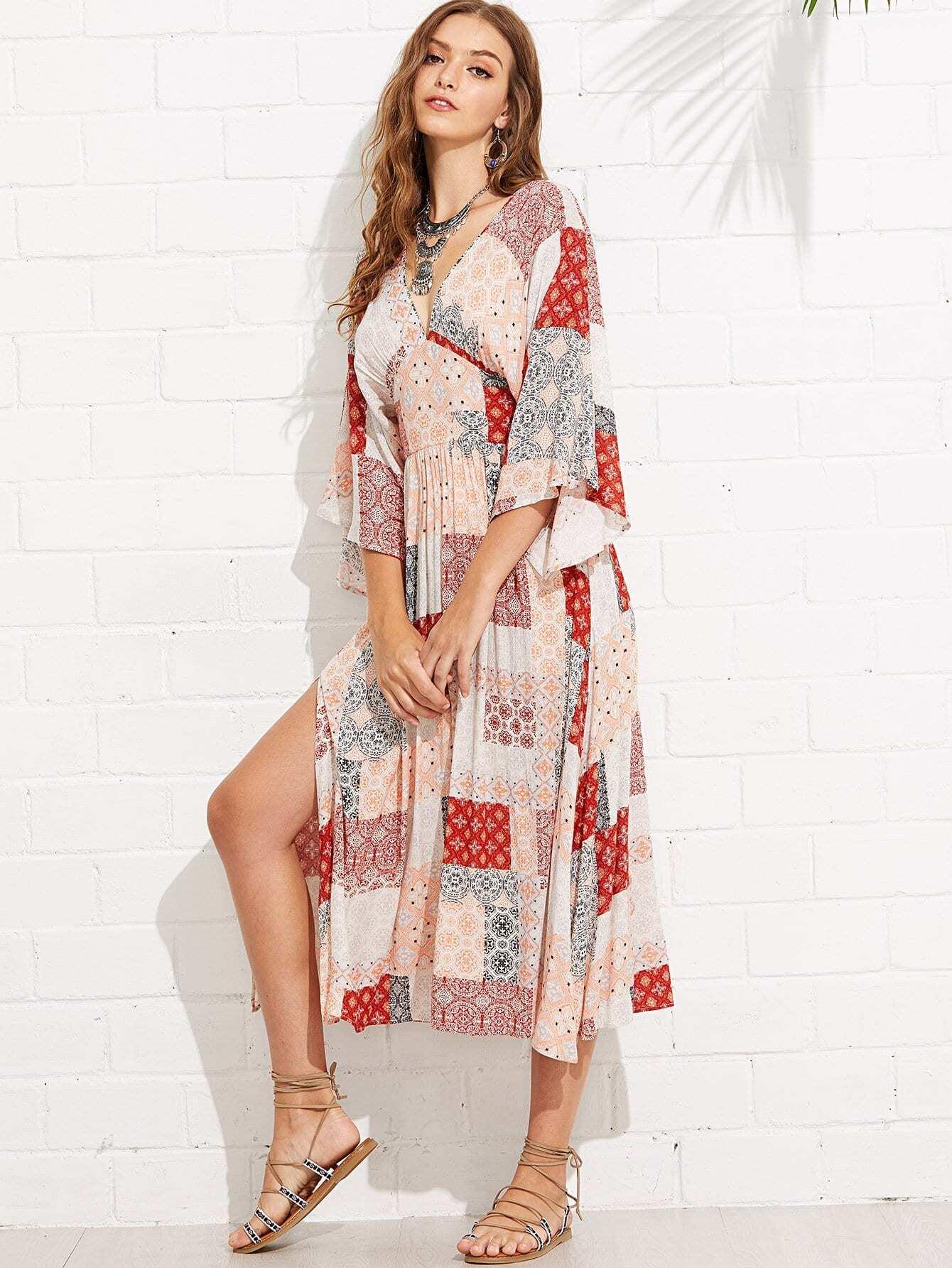 Купить Платье для кимоно с коротким рукавом, Luiza, SheIn
