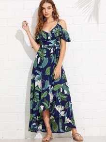 Palm Leaf Print Flounce Cami Dress