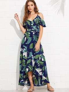 Palm Leaf Print Flounce Cami Dress