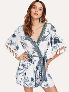 Mixed Print Tassel Detail Self Belted Wrap Romper