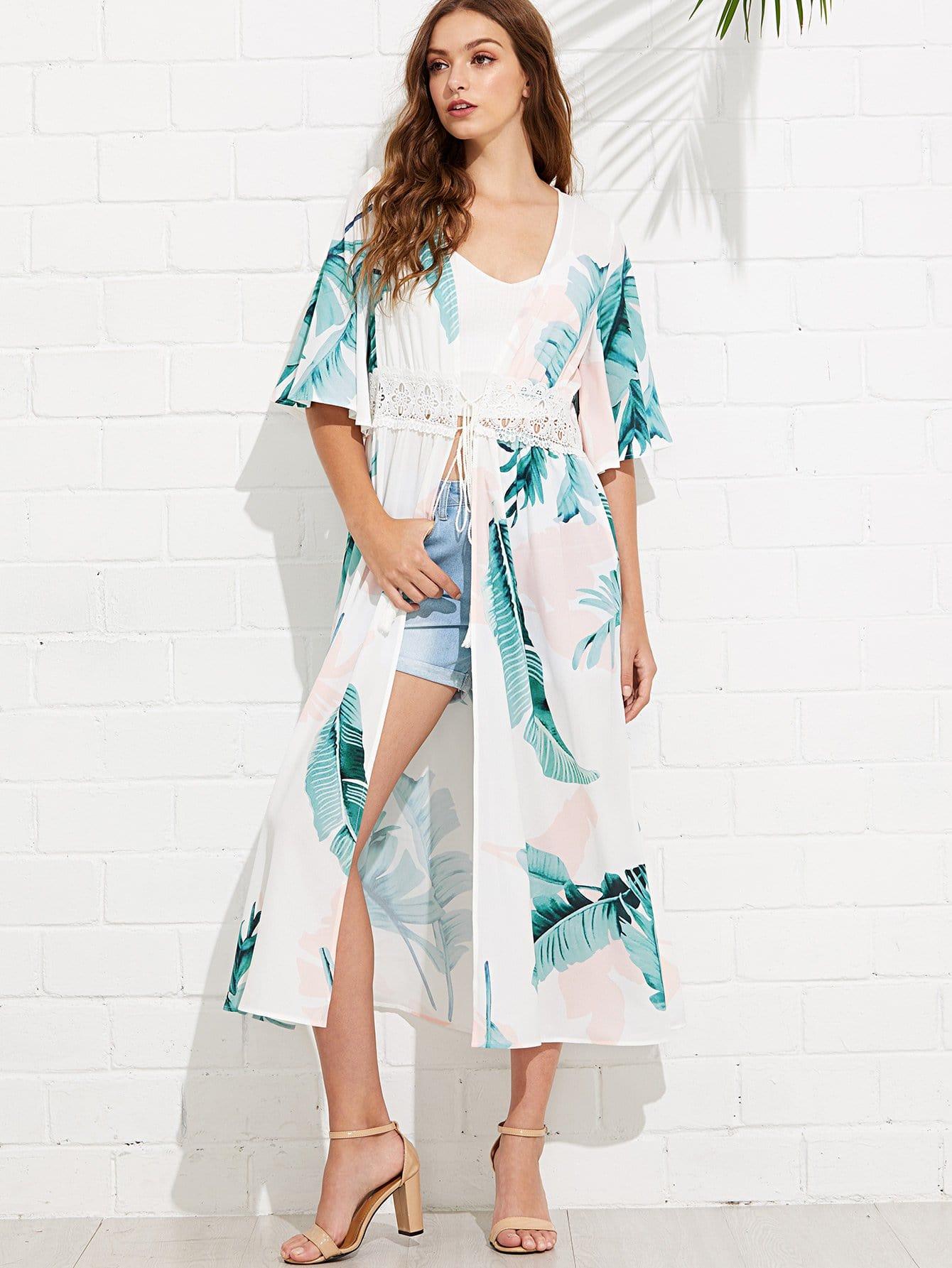 Lace Insert Jungle Leaf Print Longline Kimono mixed print lace insert longline kimono