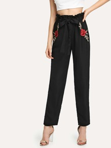 Embroidered Flower Applique Self Belted Pants