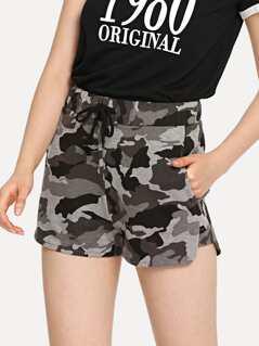 Camo Print Drawstring Sweat Shorts