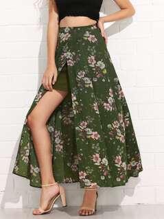 Flower Print Maxi Skirt