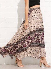 Mixed Print Maxi Skirt