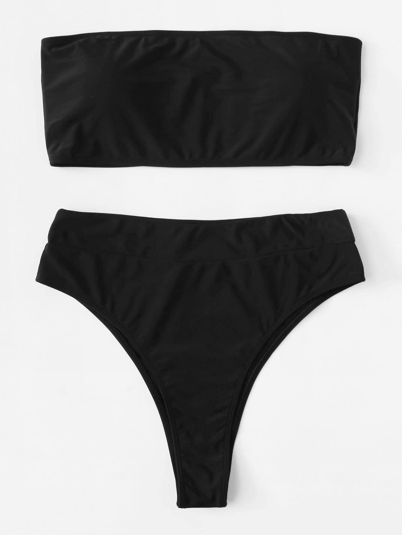 Plus High Leg Bandeau Bikini Set