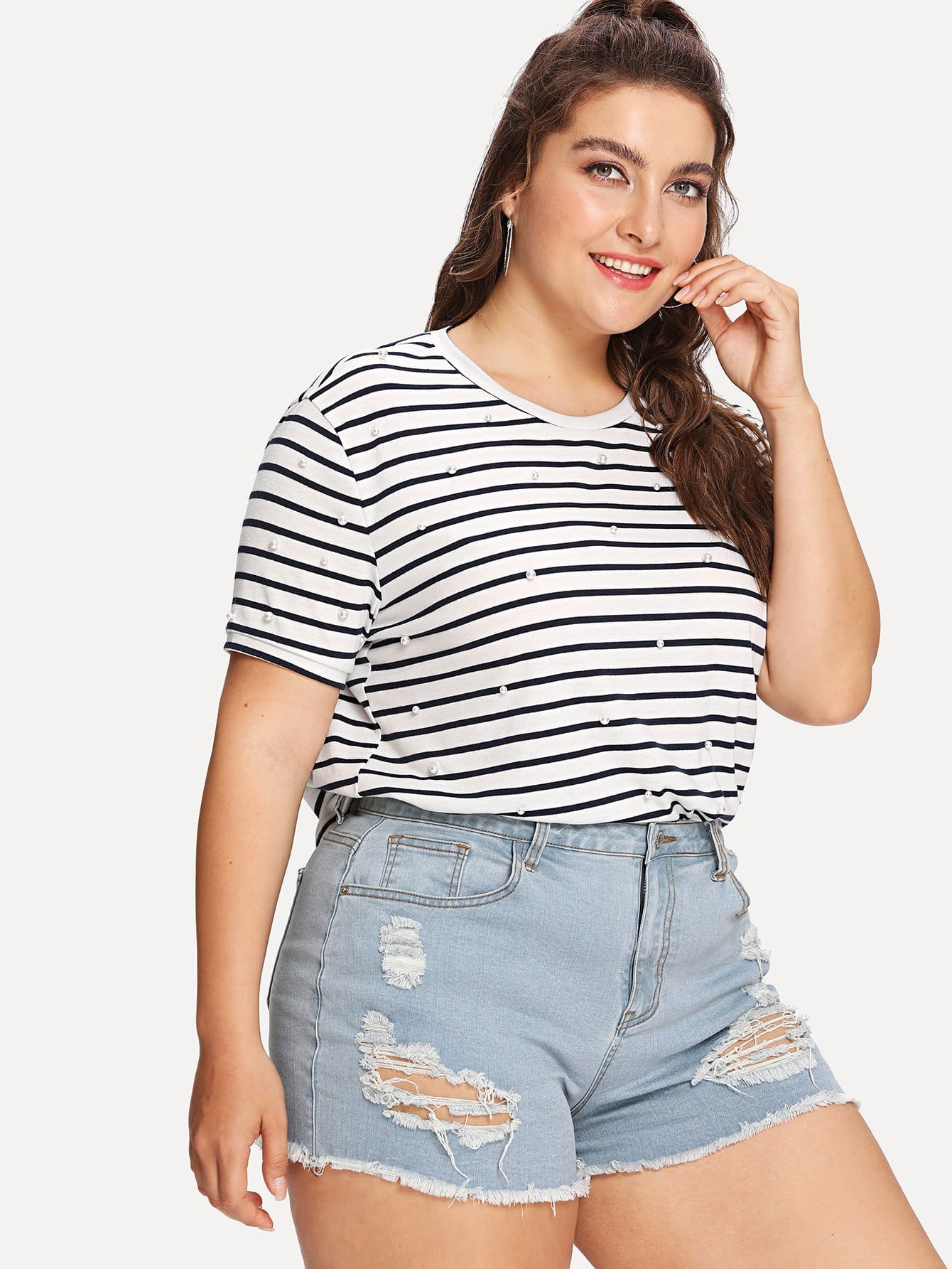 Pearl Detail Striped Tee pearl and layered lace detail pullover