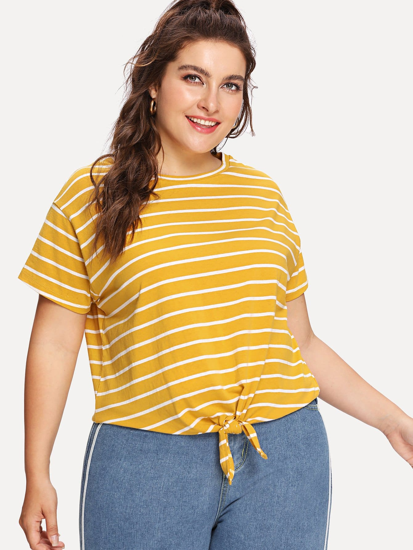 Knot Front Striped Tee hollow lace shoulder knot front tee