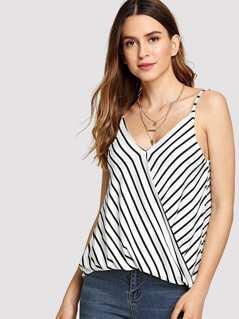 Striped Surplice Wrap Top