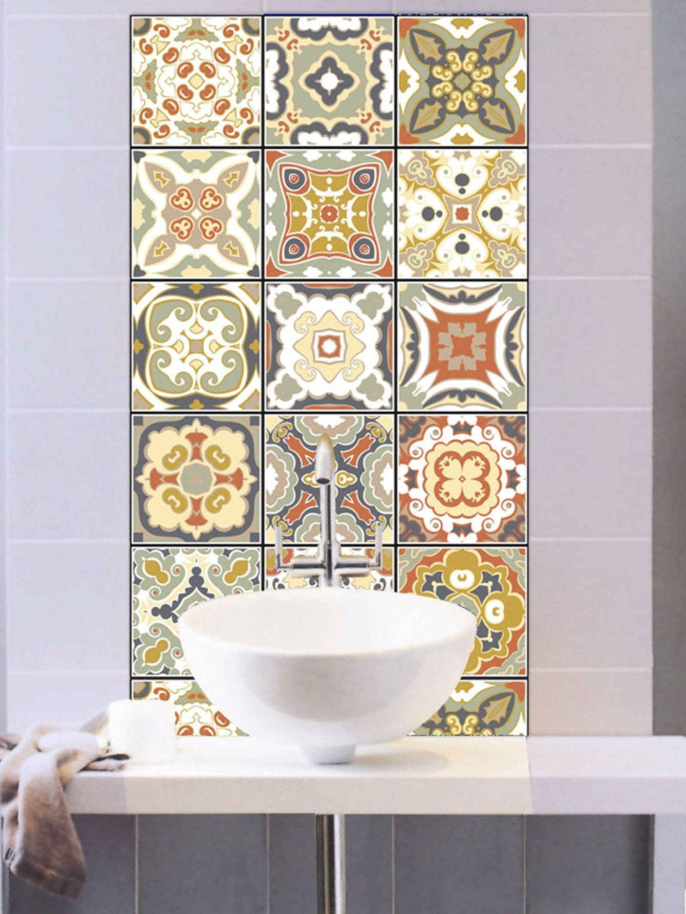 Random Symmetrical Pattern Ceramic Tile Sticker 1pc random stone spliced ceramic tile sticker 1pc