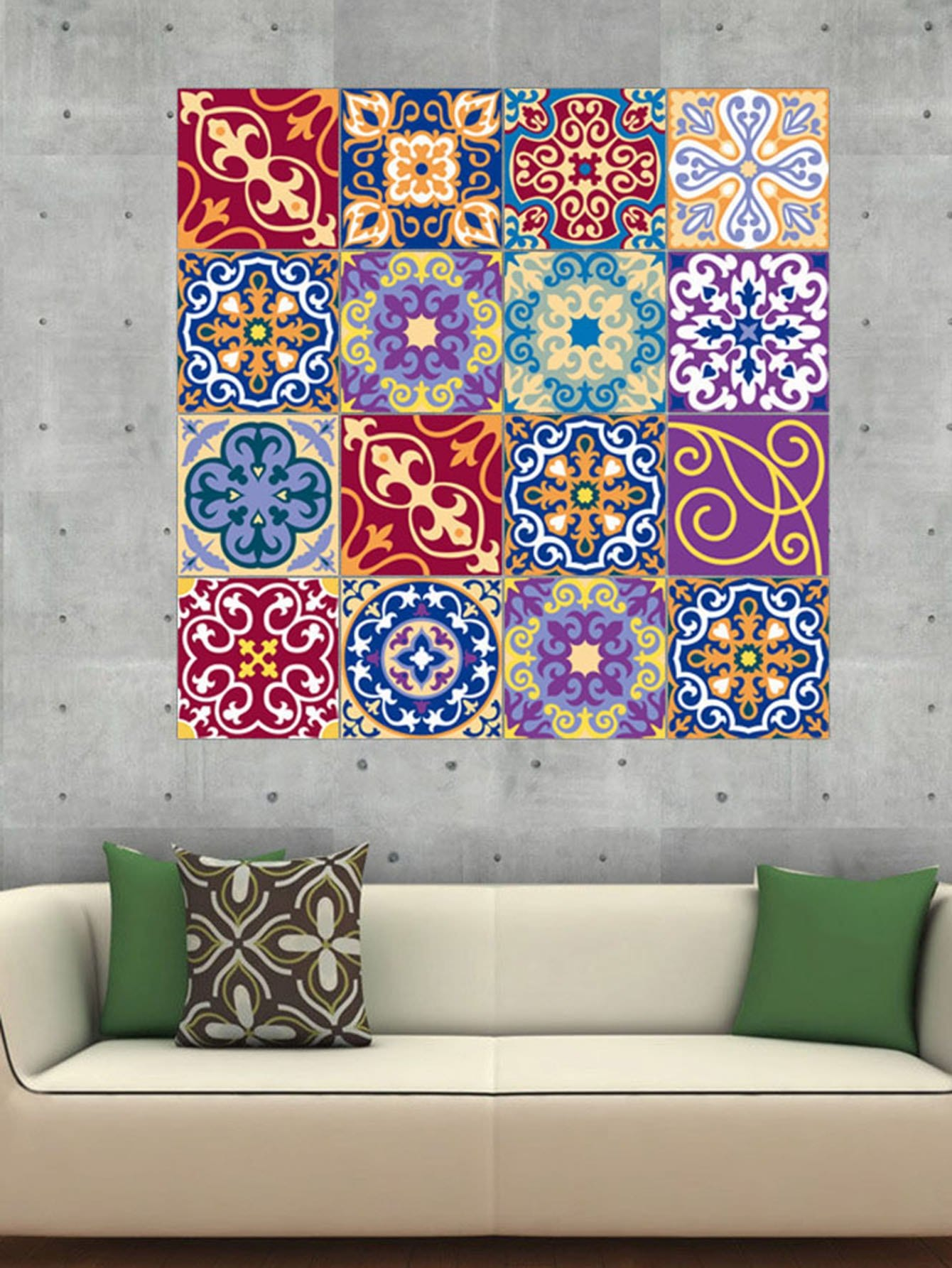 Random Damask Patchwork Ceramic Tile Sticker 1pc random stone spliced ceramic tile sticker 1pc