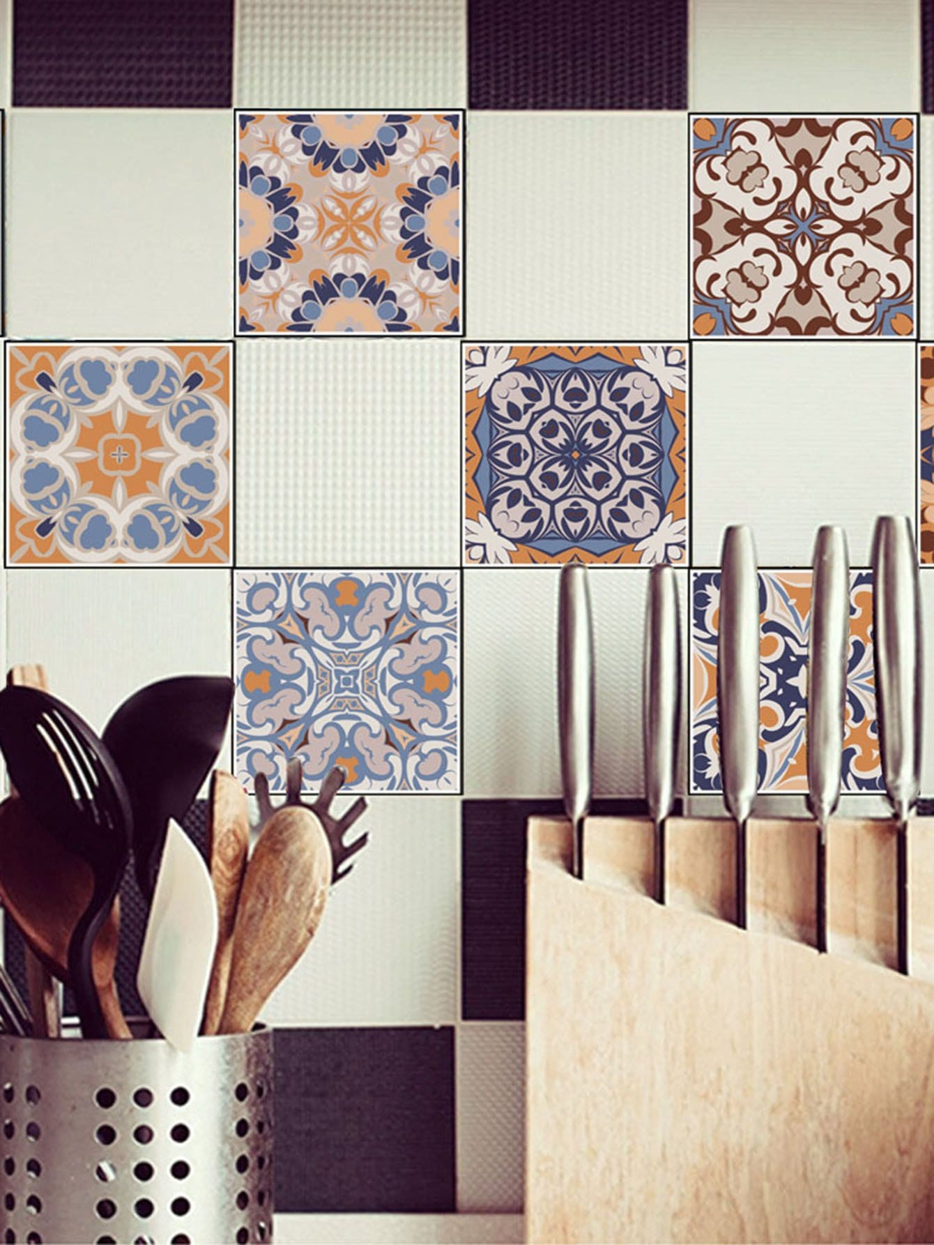 Random Symmetrical Pattern Ceramic Tile Sticker 1pc random brick patchwork ceramic tile sticker 1pc