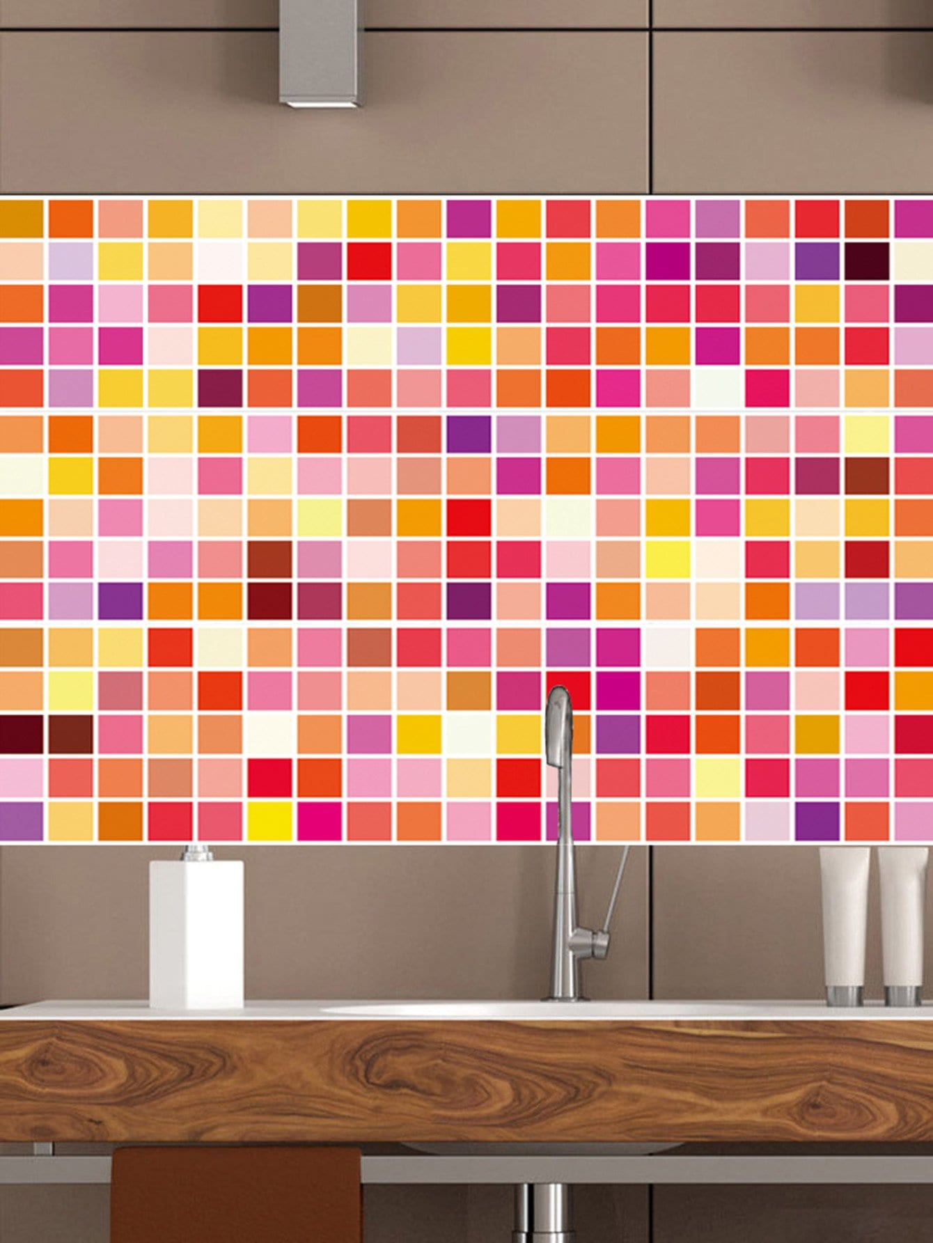 Random Checker Ceramic Tile Decal 1pc