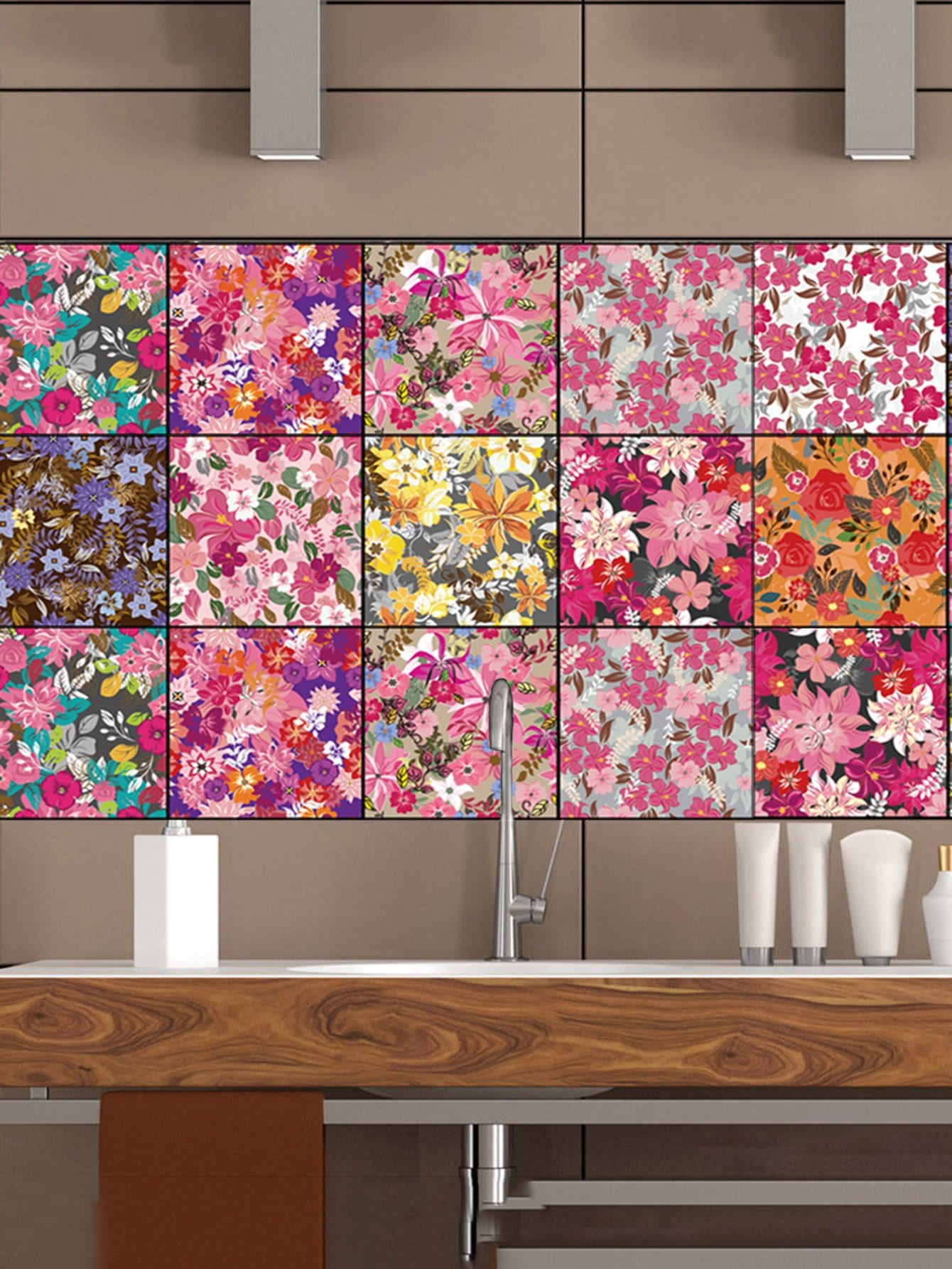 Random Flower Pattern Ceramic Tile Sticker 1pc random stone spliced ceramic tile sticker 1pc